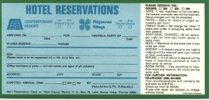 Early reservations card