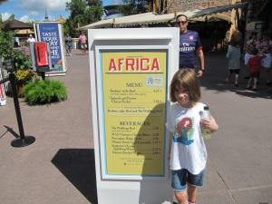 2013 Africa Menu