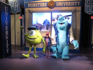 My daughter with Mike and Sulley from Monsters University