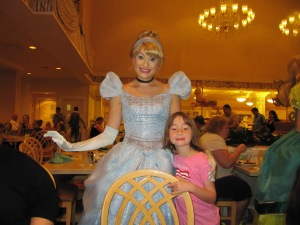 Daughter with Cinderella at 1900 Park Fare