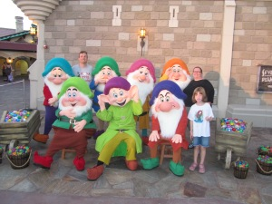My family meeting the Seven Dwarfs