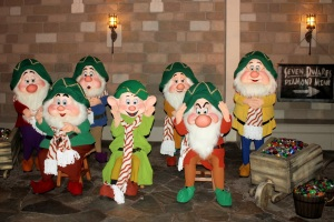 Seven Dwarfs Dressed Up For Christmas