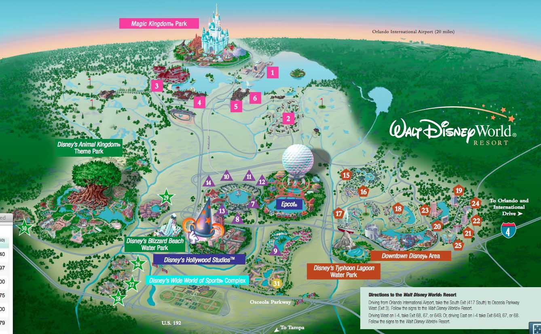 walt disney world hotels map image