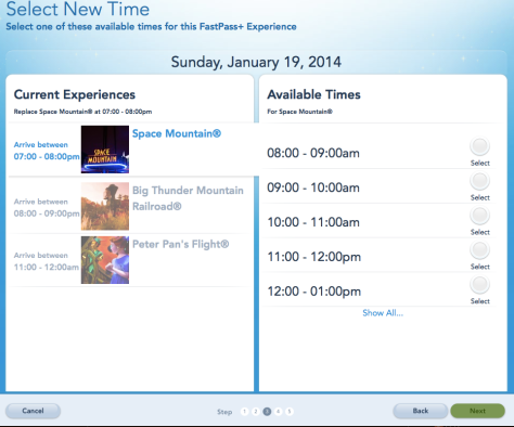 FastPass Plus screen