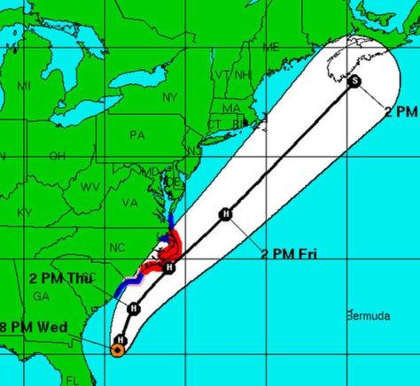 forecast path of hurricane arthur (2014)