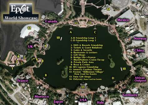 Overhead map of World Showcase